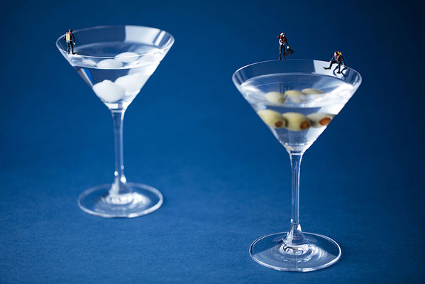 "Christopher Boffoli, ""Martini Divers,"" acrylic-dibond mounted photograph, 32 x 48 inches, (also available: 12 x 18, 24 x 36, 48 x 72)"