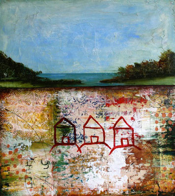 "Cheryl Warrick, ""Things Done,"" acrylic and mixed media on panel, 23 x 31 inches, $2,400"