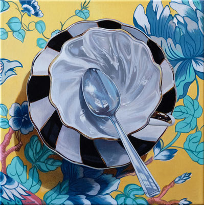"""Sherrie Wolf, """"Teacup 5,"""" 2019, oil on linen, 12 x 12 inches, $2,400"""