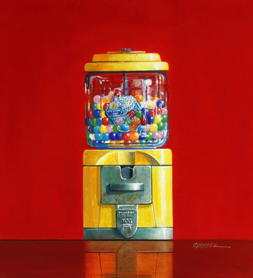 "Wendy Chidester, ""Acorn Gumball Machine,"" 2021, oil on canvas, 22 x 20 inches, SOLD"