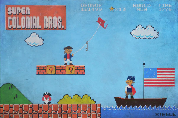 """Ben Steele, """"Super Colonial Bros,"""" 2015, oil on canvas, 24 x 36 inches, $5,200"""