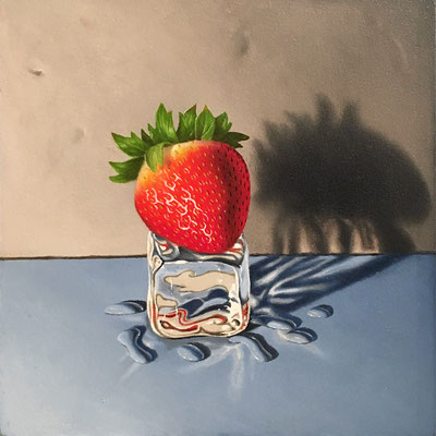 "Otto Duecker, ""Strawberry Skater 2,"" 2016, oil on panel, 6.5 x 6.5 inches, contact for price"