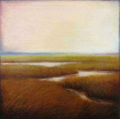 """Margaret Gerding, """"Ocean Mist II,"""" 2016, oil on panel, 16 x 16 inches, $2,500"""