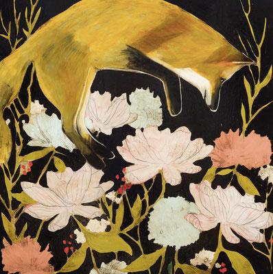 "Joseph Bradley, ""Midnight Fox & Botanicals,"" 2018, oil on wood panel with metal leaf, 36 x 36 inches"
