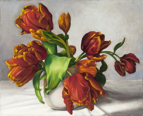"Denise Mickilowski, ""Orange Parrot Tulips,"" 2017, oil on panel, 26 x 32 inches, $7,000"