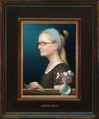 "Koo Schadler, ""Self Portrait, Amor Fati,"" 2016, egg tempera on true gesso panel, 12 x 9 inches, $8,000"