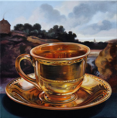 """Sherrie Wolf, """"Teacup 2,"""" 2019, oil on linen, 12 x 12 inches, SOLD"""