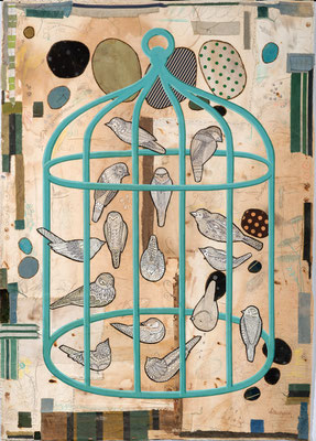"Dawn Southworth, ""Aviary,"" 2016, mixed media on paper, 42 x 30 inches, $6,000"