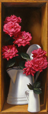"Denise Mickilowski, ""Pink Roses,"" 2012, oil on panel, 45 x 18"", $13,000"