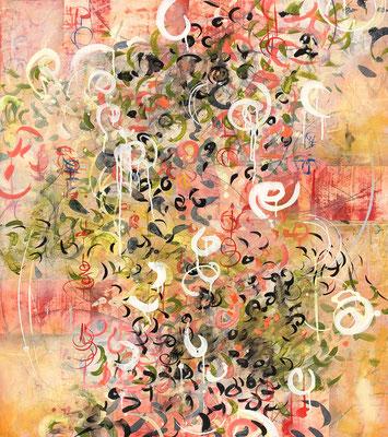 "Laura Wait, ""Flaming Jardin,"" 2018, acrylic on Baltic Birch, 42 x 36 inches, $6,000"