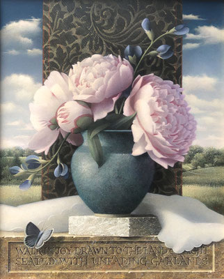 "Koo Schadler, ""Walk in Joy, Peonies Vase,"" egg tempera on true gesso and MDF panel, 13.5 x 11.25 x 1 inches framed - SOLD"