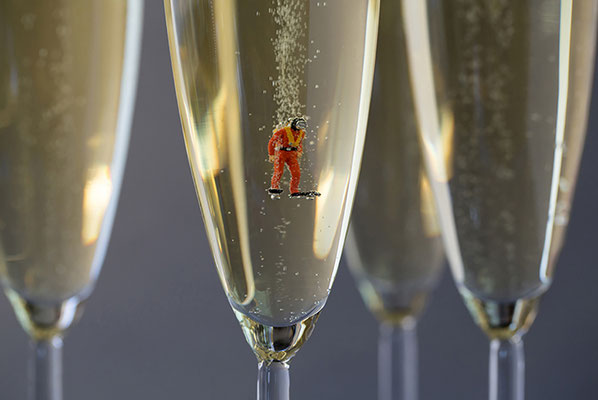 """Christopher Boffoli, """"Champagne Scuba,"""" 2019, acrylic-dibond mounted photograph, 24 x 36 inches, (also available: 12 x 18, 30 x 40, 48 x 72)"""