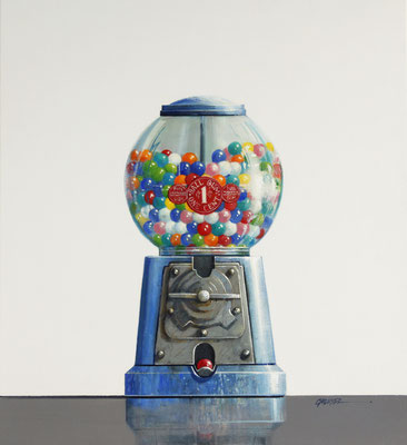 "Wendy Chidester, ""Ball Gum Once Cent,"" 2021, oil on canvas, 22 x 20 inches, $3,500"