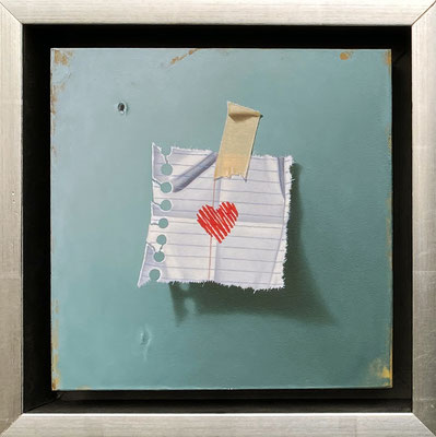 """Otto Duecker, """"Heart on Green,"""" 2021, oil on panel, 7.5 x 7.5 inches - contact for price"""