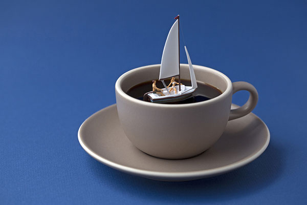 """Christopher Boffoli, """"Coffee Sail,"""" 2020, acrylic-dibond mounted photograph, 12 x 18 inches, (also available: 24 x 36, 32 x 48, 48 x 72)"""