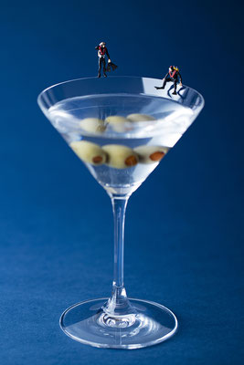 """Christopher Boffoli, """"Martini Divers,"""" 2020, acrylic-dibond mounted photograph, 36 x 24 inches (also available: 18 x 12, 48 x 32)"""