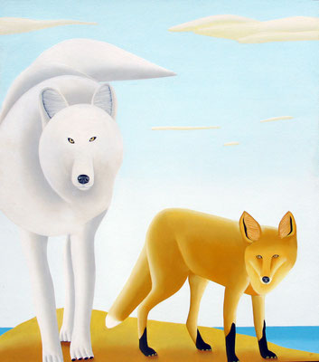"Jain Tarnower, ""The White Wolf and the Red Fox,"" oil on canvas on panel, 50 x 40 inches, SOLD"