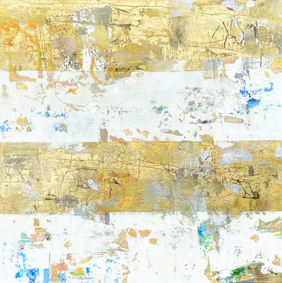 """Takefumi Hori, """"Gold and Color 70,"""" 2020, acrylic, gold leaf and metal leaf on canvas, 24 x 24 inches, $4,000"""