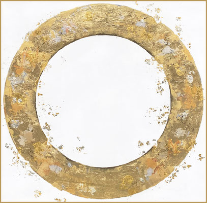 """Takefumi Hori, """"Circle No 166,"""" 2021, acrylic, gold leaf, white-gold leaf, and metal leaf on canvas, 24 x 24 inches, $4,000"""