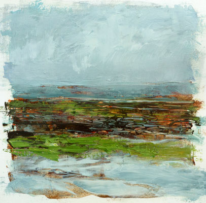 "Teri Malo, ""Retreating Tide, Bay of Fundy,"" 2019, oil on paper, 7 x 7 inches, $1,450"