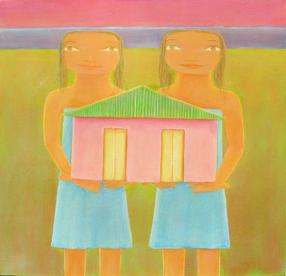 "Jorge Drosten, ""Lidia y Ligia,"" 2014, oil on canvas, 24 x 24 inches, $5,000"
