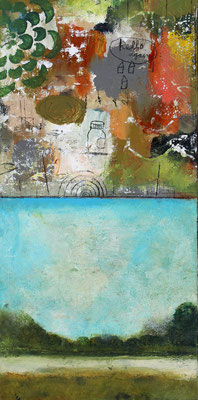 "Cheryl Warrick, ""Hello Again,"" acrylic and mixed media on panel, 20 x 10 inches, $2,400"