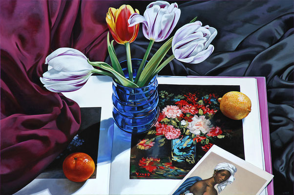"Sherrie Wolf, ""Tulips with Portrait from Louvre,"" 2017, oil on linen, 24 x 36 inches, $6,700"