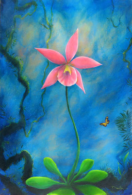 "orge Drosten, ""Nightscape with Orchid #2"" 2014, oil on canvas, 36 x 24 inches, $4,500"