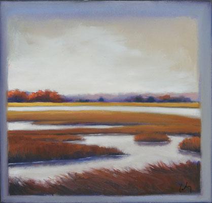 "Margaret Gerding, ""Ipswich Marsh,"" 2015, oil on panel, 16 x 16 inches, $2,500"