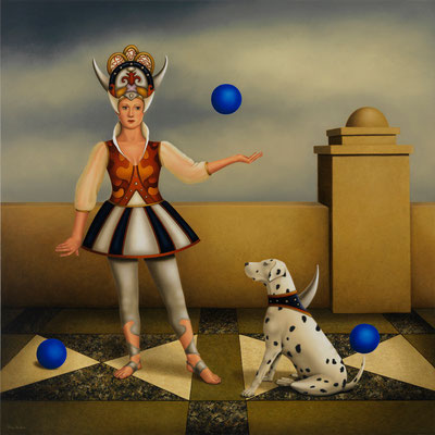 "Deborah Van Auten, ""Super Dog,"" 2012, oil on linen, 25 x 25 inches, $9,800"