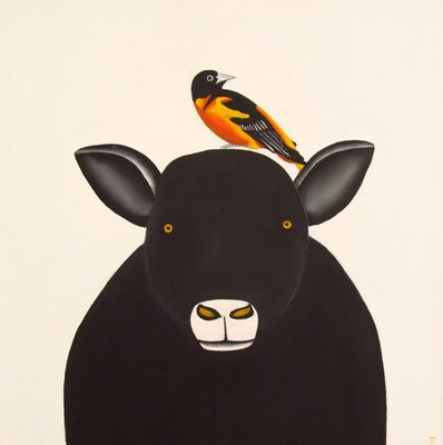 "Jain Tarnower, ""Black Icelandic Sheep with Baltimore Oriole,"" oil on canvas on panel, 24 x 24 inches, SOLD"