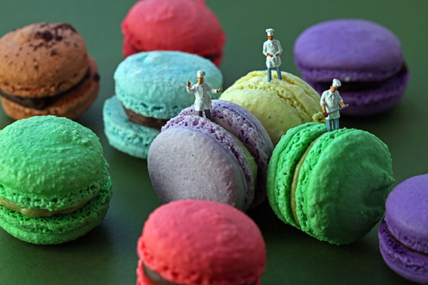 """Christopher Boffoli, """"Macaron Production Team,"""" acrylic-dibond mounted photograph, 12 x 18 inches, (also available: 24 x 36, 32 x 48, 48 x 72)"""