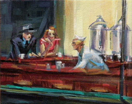 "Ben Steele, ""Cubist Nighthawks,"" 2014, oil on canvas, 8 x 10 inches, $1,000"