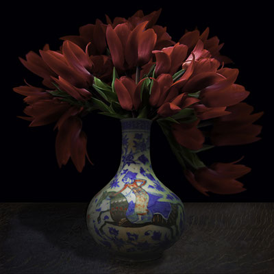 """T.M. Glass, """"Tulips in a Persian Vessel,"""" 2020, Archival Pigment Print, Available in: 30 x 30""""; 42 x 42"""", contact for price"""