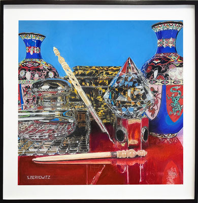 "Sheldon Berkowitz, ""Cloisonne, Tortoise Shell, Crystal and Brass,"" pastel over watercolor on paper, 29.5 x 29.5 inches, $15,000  (framed size: 40 x 40 inches)"