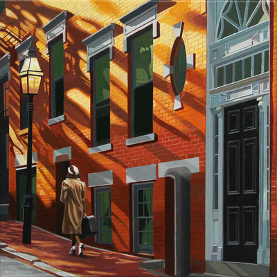 """Andrew Woodward, """"Beacon Hill Homecoming,"""" 2019, acrylic on canvas, 18 x 18 inches, $3,200"""