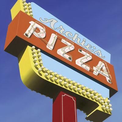 """Stephanie Schechter, """"Archie's Pizza,"""" oil on aluminum, 40 x 40 inches - SOLD"""