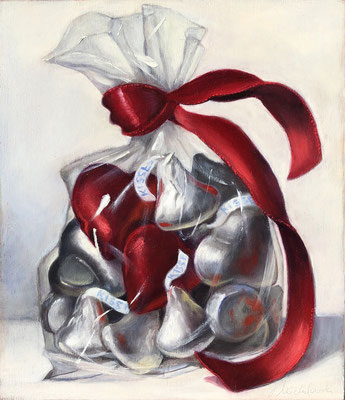 """Denise Mickilowski, """"Hearts & Kisses,"""" 2018, oil on canvas, 10 x 9.5 inches, $1,800"""