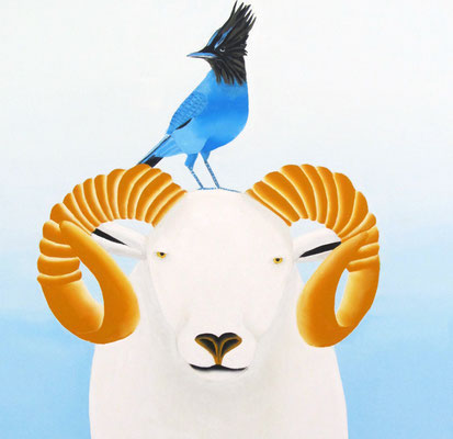 """Jain Tarnower, """"Wiltshire Sheep and Steller's Jay,"""" oil on canvas on panel, 24 x 24 inches, $3,800"""