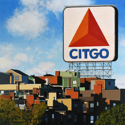 """Andrew Woodward, """"Citgo Morning Color,"""" 2021, acrylic on panel, 12 x 12 inches, $2,400"""