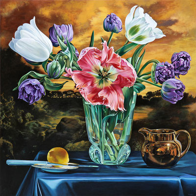 """Sherrie Wolf, """"Tulips at Sunset (F. Church)"""" 2020, oil on linen, 40 x 40 inches, $11,400"""
