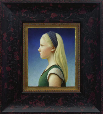 """Koo Schadler, """"Lily at 13,"""" 2005, egg tempera on true gesso panel finished with oil, 4.75 x 3.75 inches, $1,800"""