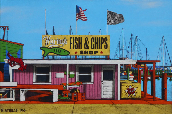 "Ben Steele, ""Haring's Fish & Chips,"" 2019, oil on canvas, 20 x 30 inches, $4,500"