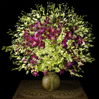 """T.M. Glass, """"Orchids in a Gold Colored Ceramic Vase,"""" 2020, archival pigment print on hand-made Italian rag paper, Available in: 30 x 30""""; 42 x 42""""; 52 x 52""""; 58 x 58"""", contact for price"""