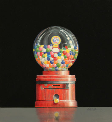 """Wendy Chidester, """"Ford Gum-ball,"""" 2019, oil on canvas, 22 x 20 inches - SOLD"""