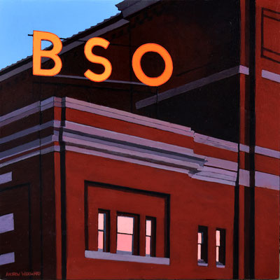 """Andrew Woodward, """"BSO (Boston Symphony Orchestra,)"""" 2021, acrylic on panel, 12 x 12 inches, $2,400"""