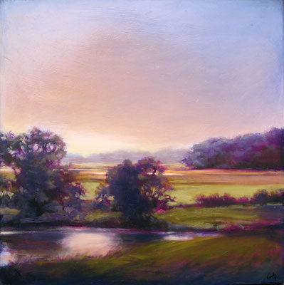"""Margaret Gerding, """"The View,"""" 2018, oil on panel, 24 x 24 inches, $4,000"""