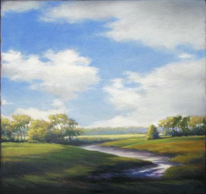 "Margaret Gerding, ""Newcastle, Maine,"" 2016, oil on panel, 36 x 36 inches, $6,000"