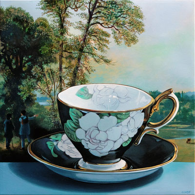 """Sherrie Wolf, """"Gardenia Teacup,"""" 2019, oil on linen, 16 x 16 inches, $3,400"""