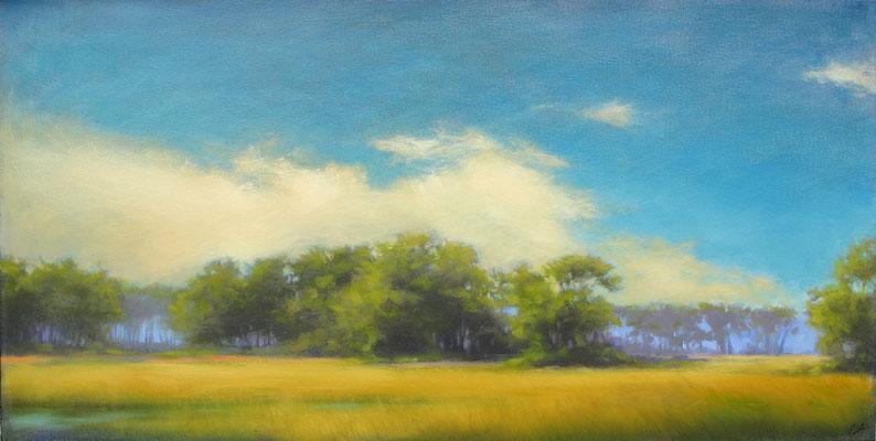 "Margaret Gerding, ""Color Burst,"" 2018, oil on canvas, 24 x 48 inches, $6,500"